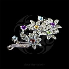 Luke Stockley Silver & Marcasite Bouquet Brooch (HB475) | Alexandra May Jewellery