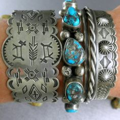 Frilly Old Fred Harvey Era Repousse Concho Navajo Early 30's Cuff Bracelet |