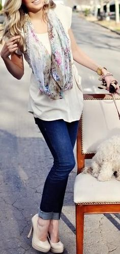 Love this outfit! The floral scarf, and neutrals paired with dark cuffed skinnies.