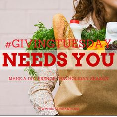 """""""Today is the perfect day to make a difference in someone else's holiday this season. Giving Tuesday, Food Bank, Someone Elses, Seasons, Holiday, How To Make, Vacations, Seasons Of The Year, Holidays"""