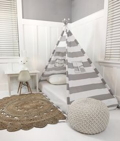 Play Tent Canopy Bed in Grey and White Stripe by DomesticObjects on Etsy https://www.etsy.com/listing/486634969/play-tent-canopy-bed-in-grey-and-white