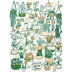 People I've Loved: Plant Family Print - Modern Plant Painting, Plant Drawing, Plant Art, Uk Plant, Cactus Drawing, Garden Drawing, Fabric Painting, Living Room Plants, Bedroom Plants