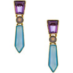 Kanupriya Geo Drop Earrings ($105) ❤ liked on Polyvore featuring jewelry, earrings, geometric earrings, kanupriya earrings, kanupriya, kanupriya jewelry and blue earrings