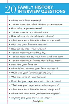 Senior family members are often the best genealogy resource. Here are 20 family history interview questions to ask to discover more about generations past. Memoir Writing, Journal Writing Prompts, Family History Book, History Books, Family Genealogy, Free Genealogy, Genealogy Humor, Genealogy Sites, Journal Questions