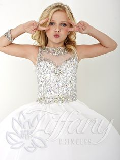 Teen White Pageant Gown | Tiffany Princess Kids Pageant Dress 13426