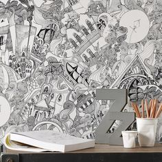 Lizzies Doodle Black/White Wallpaper - Black White Wall Coverings by Graham Brown Discount Wallpaper, Cheap Wallpaper, Brown Wallpaper, Black And White Wallpaper, Of Wallpaper, Wallpaper Ideas, Designer Wallpaper, Black And White Flooring, Black White