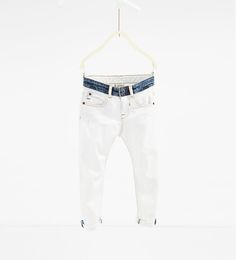 Afbeelding 1 van Denim broek met contrasterende tailleband van Zara