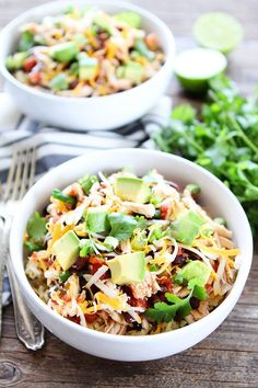 Slow Cooker Mexican Chicken Recipe on twopeasandtheirpod.com You only need 10 minutes to prepare this delicious chicken dinner! Serve over rice or make tacos, burritos, or salads!