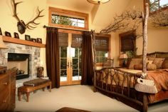 Rustic Master Bedroom - Find more amazing designs on Zillow Digs! Rustic Master Bedroom, Dream Bedroom, Home Bedroom, Bedroom Ideas, Master Bedrooms, My Dream Home, Home And Living, Home Furnishings, Modern Design
