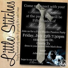 Fifty Shades of Grey Invitation as SEEN ON by ShopLittleStitches, $14.00