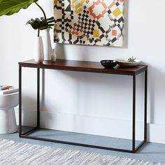 Box Frame Console Table - Wood/Antique Bronze