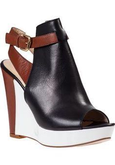 366ecf9f9a2e Sesto Meucci for Jildor - Color Block Wedge Sandal Black Leather - Jildor  Shoes Platform Shoes