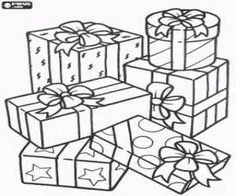 Christmas gifts or christmas presents coloring pages