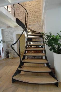 escalier escalier 1/4 tournant, limon acier marche chêne, rampe acier et inox stair,stairs