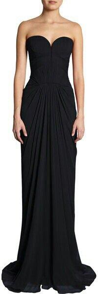 Strapless black long dress