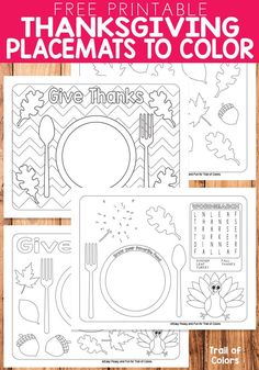 Free Printable Thanksgiving Placemats to Color - Trail Of Colors Keep the little ones busy by printing these free printable Thanksgiving placemats to color, we have a lovely set both in letter and legal size so they . Thanksgiving Art Projects, Thanksgiving Crafts For Toddlers, Thanksgiving Placemats, Free Thanksgiving Printables, Thanksgiving Crafts For Kids, Thanksgiving Traditions, Thanksgiving Parties, Thanksgiving Activities, Holiday Activities