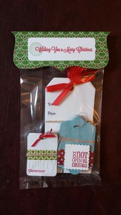 Adorable handmade Christmas gifts - set of stamped gift tags. Package in clear favor bags with diecut topper. All stamps from Stampin Up.