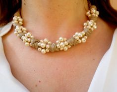 pearl cord necklace gift for her pearl от DolceStilNovoLab на Etsy