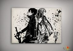 Sword Art Online SAO Kirito Asuna Watercolor Print  Archival Print Art Print Wall Decor Art Poster Anime Print  Manga Cartoon Multi Size n74
