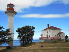 Georgina Point Lighthouse Mayne Island, Canada, faces the east entrance to Active Pass. Captain George Vancouver camped here in Places To Travel, Travel Destinations, Places To Visit, Western Canada, Peaceful Places, Being In The World, Small Island, North Africa, Temples