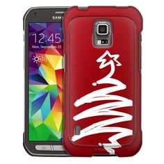 Samsung Galaxy S5 Active White Painted Tree on Red Trans Case