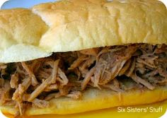 Slow Cooker French Dip Sandwiches from SixSistersStuff.com.  Only 3 ingredients needed! #recipes #slowcooker #dinner
