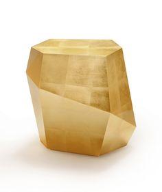 #INSIDHERLAND 'Three Rocks' tables by Joana Santos Barbosa  in gold leaf. #detail #reflection #gold #gloss #geometry  WWW.INSIDHERLAND.COM