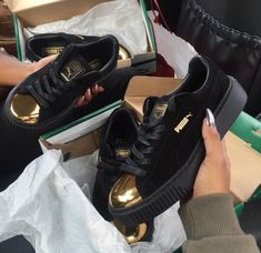 92e5159c18acb Shop Women s Puma Gold Black size Sneakers at a discounted price at  Poshmark. Description  Brand new puma fenty sneakers size Sold by Fast  delivery
