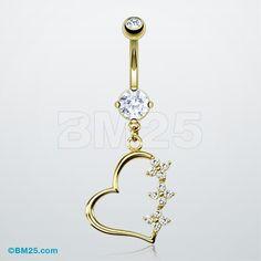 14K Gold Flora Heart Belly Piercing