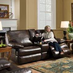 Simmons Upholstery Miracle Reclining Leather Sectional