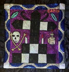 This is a sequined voodoo flag by Haitian artist maker of Baron Samedi for sale on Nader Haitian Art