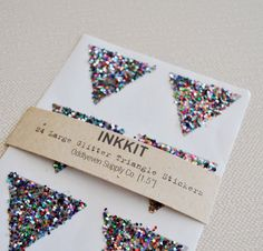 colorful glitter large triangle stickers  24 stickers by inkkit, $6.00