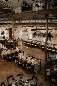 Wedding Ceremony Seating, Wedding Reception Tables, Wedding Table Centerpieces, Wedding Decorations, Industrial Wedding Inspiration, Romantic Wedding Inspiration, Wedding Table Layouts, Warehouse Wedding, Wedding Place Settings