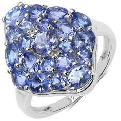 2.69 Carat Genuine Tanzanite .925 Sterling Silver Ring