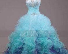 Sky Blue Crystal Fairy Princess Ball Gown por theomerryart en Etsy
