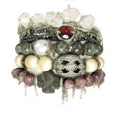 herkimer diamonds, rhodalite diamond triple wrap bracelet/necklace, bryozoan coral with south sea pearl, woolley mammoth ivory and diamonds, raw rubies & staurolite with diamonds. nanfusco.com