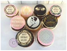 15 x Great Gatsby Cupcake & Cookie Toppers, PRINTS, (PRE CUT) Perfect for a 1920's art deco theme!