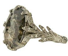 Cathy Waterman Rustic Diamond Leaf Side Ring