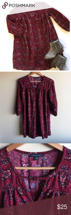 """AEO boho shift dress in maroon print How cute is this dress?!? Gauzy 55% cotton and 45% viscose, machine washable. Maroon with navy blue and tan print. Could also be worn as a long tunic top! Looks great with booties. Measures 19"""" from underarm to underarm and 31"""" from shoulder to hem. Excellent condition!! American Eagle Outfitters Dresses Mini"""