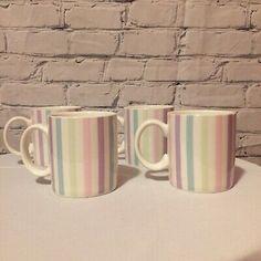 Temptations By Tara Pastel Striped Mugs Set Of 4  | eBay Dinner Plate Sets, Dinner Plates, Mugs Set, Tea Mugs, Temptations By Tara, Tallest Dog, Christmas Angels, Selling On Ebay, Old World