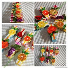 Quilled fruit clips