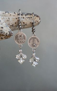 Vintage assemblage earrings by frenchfeatherdesigns on Etsy