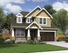 Narrow Lot Craftsman With Wide Appeal (HWBDO76503) | Craftsman House Plan from BuilderHousePlans.com