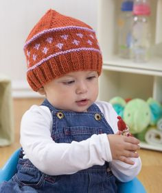 Knit Baby Fair Isle Hat Knitting Pattern  Classic styling for your classic baby  this adorable knit cap looks great on either boys or girls!  It's an easy way to try color knitting for both newbies and more experienced knitters.  Red Heart Free Pattern - no membership required.