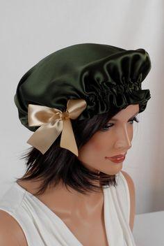 100 Silk Sleep Bonnet Pine Charmeuse Fully by AdorabellaBaby 952de890f9b
