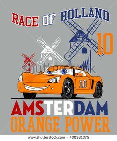 Race of Holland. Vector Car. Cartoon car. Illustration Car. Comic Car