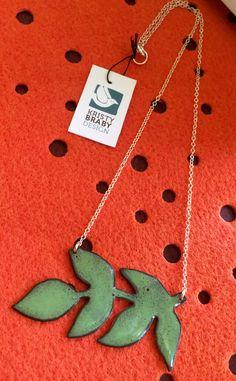 Enameled leaf necklace by kristybrabydesign on Etsy