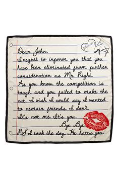 Dear John letter, college ruled, silk scarf by Felix Rey