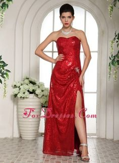 Custom Made 2013 Prom Pageant Dress Red High Slit