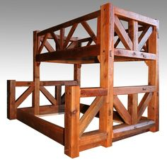 Barnwood Bunk Bed Timber Frame - Item - 17 Standard & 1000 Custom Color Options - Available as Twin over Twin, Twin over Full, Full over Queen or Queen over Queen - Comes with built in ladder (not shown). - Made From Salvaged Barnwood